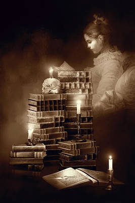 Read Mixed Media - We Read To Know We Are Not Alone Sepia Color by Georgiana Romanovna