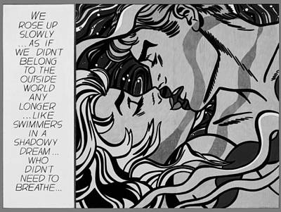 Painting - We Rose Up Slowly - Black And White by Roy Lichtenstein