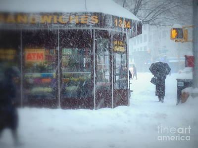 Photograph - We Sell Flowers - Winter In New York by Miriam Danar