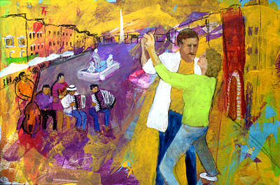 Painting - We Tangoed On The Piazza Navono by Keith Thue