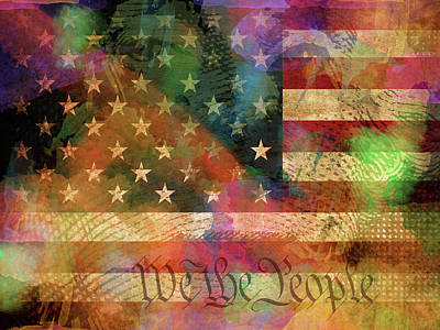 People Mixed Media - We The People Distressed Grunge Usa American Flag With Washington Hidden Portrait by Design Turnpike