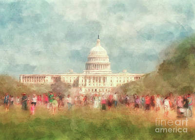 Capitol Building Digital Art - We The People by Lois Bryan
