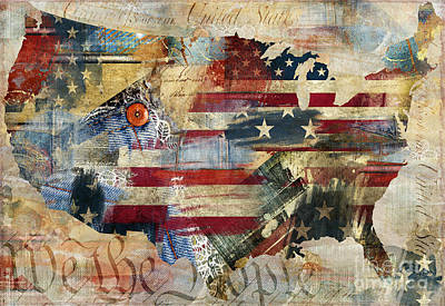 Flags Painting - We The People Map America by Mindy Sommers