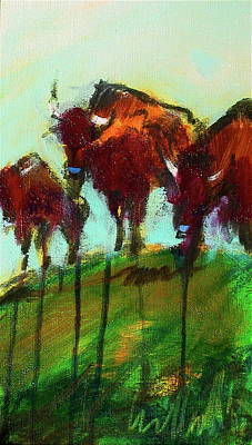 Painting - We Three Buffalo by Les Leffingwell