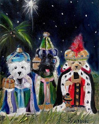 Scottish Terrier Painting - We Three Kings by Mary Sparrow