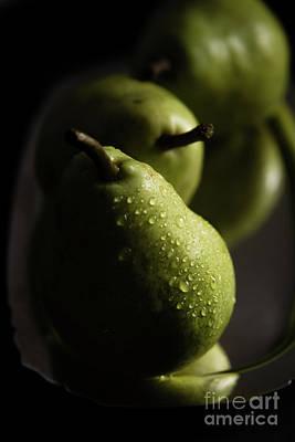 Wooden Platters Photograph - We Three Pears by Deborah Klubertanz