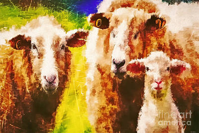 Digital Art - We Three Sheep by Tina LeCour