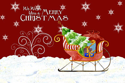 Painting - We Wish You A Merry Christmas - Santa's Sleigh With Snowflakes by Audrey Jeanne Roberts