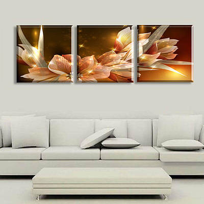 Artist Process Painting - Wealth And Luxury Golden Flowers 3 Piece Art by Dafen Village