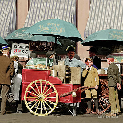 Photograph - Wear Youngs Hats At Frankfurter Hot Dog Stands 3 Cents Each 20170707 Square Colorized by Wingsdomain Art and Photography