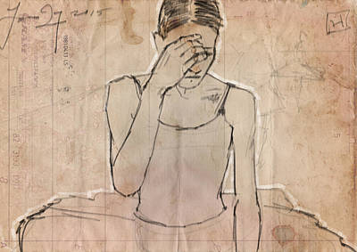 Mixed Media Drawing - Weary by H James Hoff