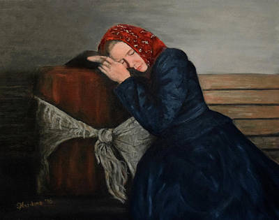 Ellis Island Painting - Weary Traveler by Sandra Nardone