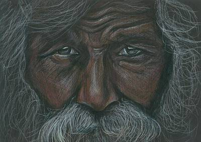 Drawing - Weathered Aborigine by Linda Nielsen