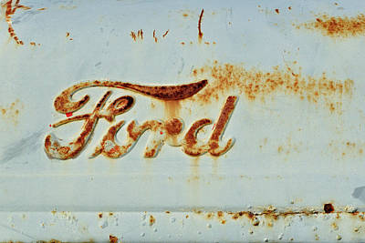 Photograph - Weathered And Worn Ford Tractor Hood by Luke Moore