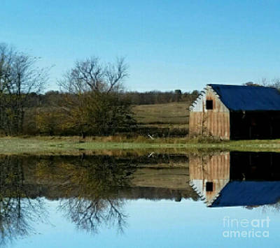 Southern Indiana Digital Art - Weathered Barn By The Pond by Scott D Van Osdol