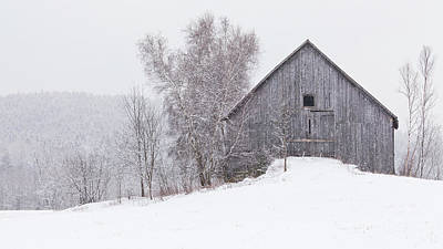 Photograph - Weathered Barn Winter by Alan L Graham