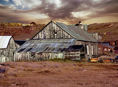 Photograph - Weathered Barn With Storm Clouds by Alan Socolik