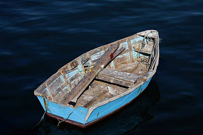 Photograph - Weathered Blue Rowboat by Art Block Collections