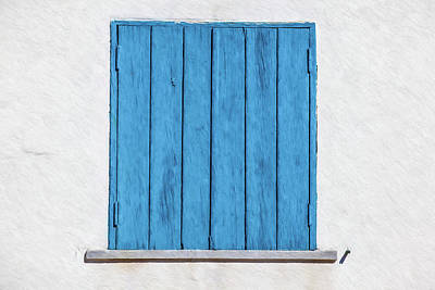 Weathered Blue Shutter Art Print