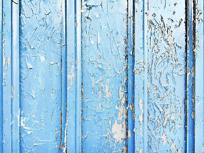 Weathered Blue Wood Art Print by Tom Gowanlock