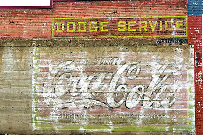 Coca-cola Sign Photograph - Weathered Brick Wall In Red Lodge, Montana by Jess Kraft