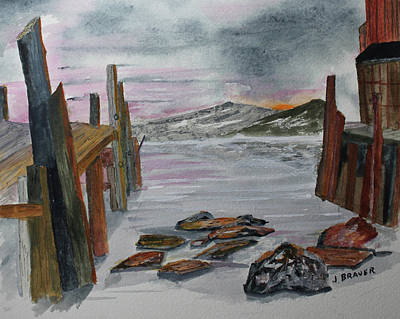 Painting - Weathered Dock by Jack G Brauer