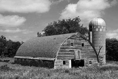 Boondocks Photograph - Weathered Gray Barn With Silo by Donald  Erickson