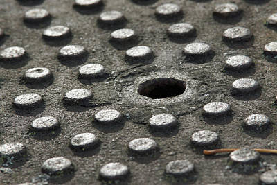 Photograph - Weathered Manhole by Robin Clifton