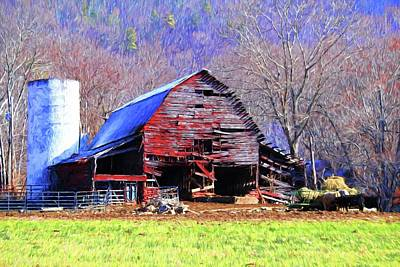 Red Barn In Winter Photograph - Weathered Red Barn In The Mountains Of North Carolina by Carol R Montoya