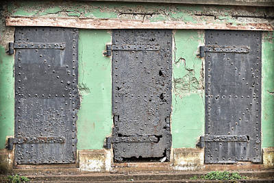 Photograph - Weathered Rusting Doors Of Battery Mendell by Greg McLain