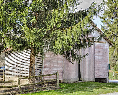 Split Rail Fence Photograph - Weathered Shed In Amish Country by William Sturgell