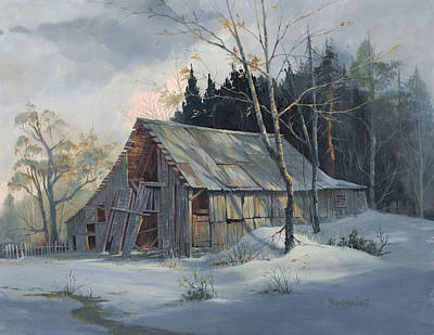Weathered Painting - Weathered Sunrise by Michael Humphries