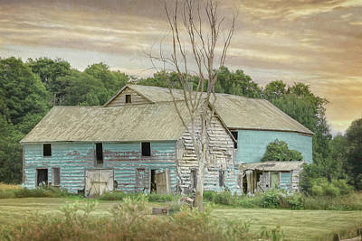 Photograph - Weathered Teal Barn by Lori Deiter