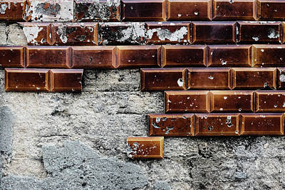 Photograph - Weathered Tile Wall by Marco Oliveira