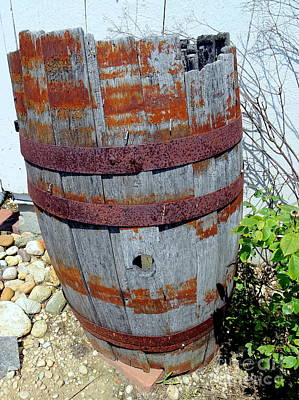 Photograph - Weathered Water Barrel by Ed Weidman