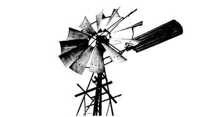 Photograph - Weathered Windmill - B-w by VIVA Anderson