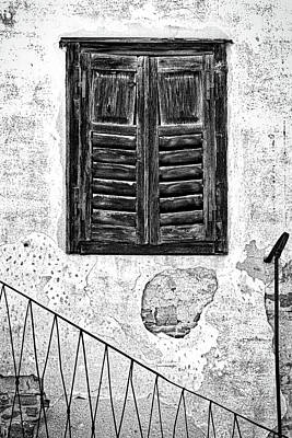 Photograph - Weathered Window And Railing - Slovenia by Stuart Litoff