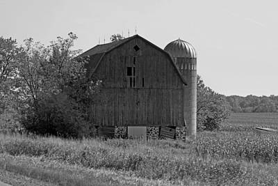 Photograph - Weathered Wisconsin Barn In Black And White by Kay Novy