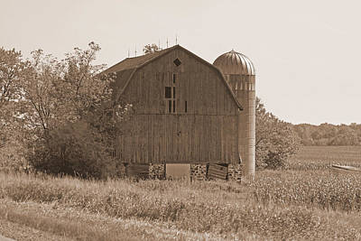 Photograph - Weathered Wisconsin Barn In Sepia by Kay Novy