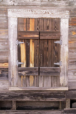 Photograph - Weathered Wooden Shuttered Window by MM Anderson