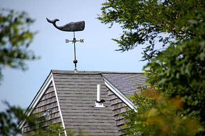 Weathervane - Whale On Roof Print by Wayne Sheeler