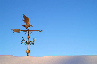 Weathervane On Snow Art Print by Robert  Suits Jr