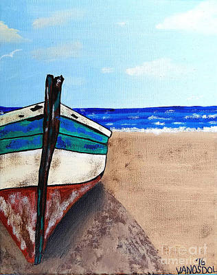 Painting - Weathred Old Skiff Seascape by Scott D Van Osdol