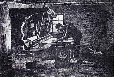 Drawing - Weaver At The Loom by Vincent van Gogh