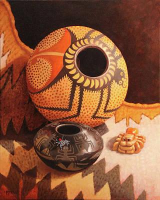 Santa Fe Gallery Painting - Weavers Of Webs, Weavers Of Tales by Rebecca Riel