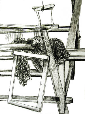 Cahill Drawing - Weaving Room Chaos by Orla Cahill