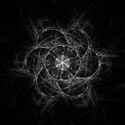Digital Art - Web Circles In Black And White by Angie Tirado