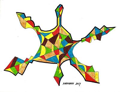 Drawing - Web Of Colors by Paul Meinerth