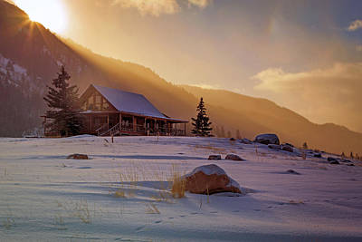 Weber Canyon Cabin Sunrise. Art Print by Johnny Adolphson