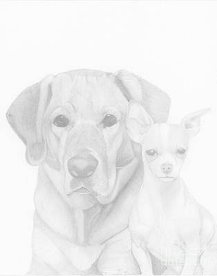 Drawing - Webster And Lulu by Dave Nevue